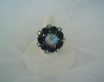 Ring Blue Aurora Borealis Rhinestone