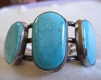 Turquoise Sterling Heavy Bracelet