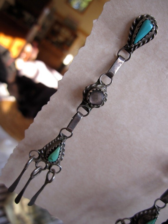 Long Zuni Turquoise and MOP Earrings