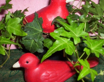 Pair of Concrete Red Bird Statues