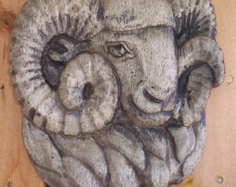 ARIES Concrete RAM PLAQUE For Pagan / Wicca / Gardens /Homes