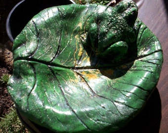 Concrete Leaf Bird Bath of Feeder with a Small Frog