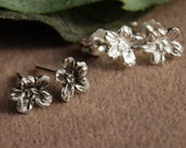 Earrings Baby's Breath Flower Blossom Pair stud sterling Lobe or Cartilage teen gift Forget Me Not