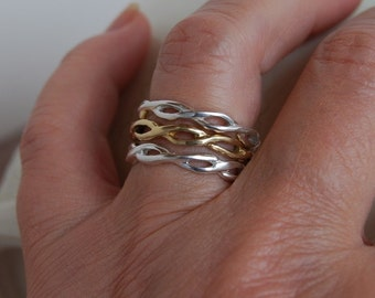 Stackable Ring Set Twisted Rope  -  2 Sterling one 14K - 3.5mm wide 7. 5 Wedding Bands