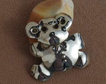 Teddy Bear Pin Hand Shapped ON SALE Birthing Teddy bear Pin in Sterling silver