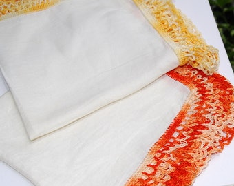 Embroidered edge Hankies golden yellow orange Antique lace work lace edge