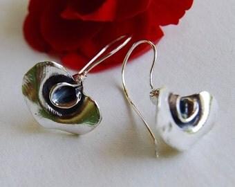 Pea Flower Earrings Sterling silver drop Sweet pea garden vegetable flower
