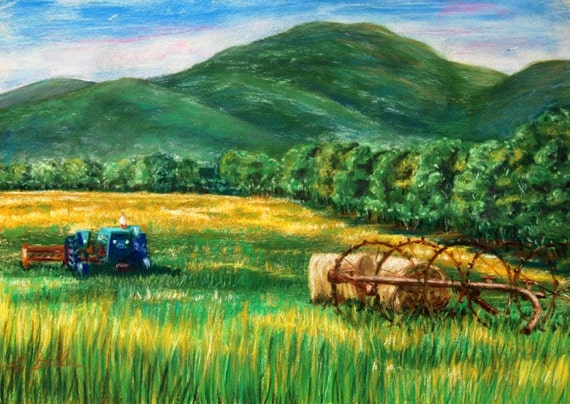 Catskill Mountain Farm Airport Road original pastel painting countryside hay bails wagon pasture