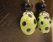 Polkadot Earrings in green and black