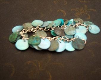 Blue Goddess river rock tag braclet