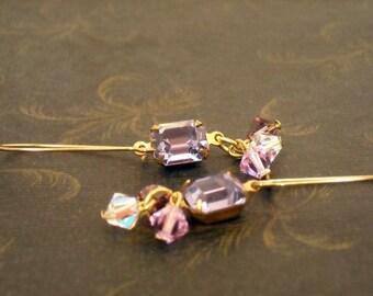 Vintage recycled crystal earrings with purple Swarovski bi cone crystal's