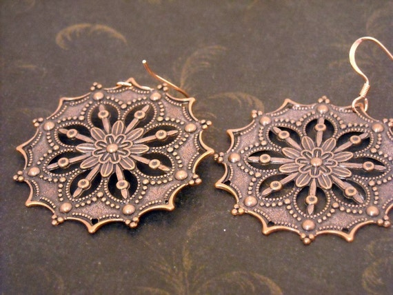 Copper Snowflakes earrings