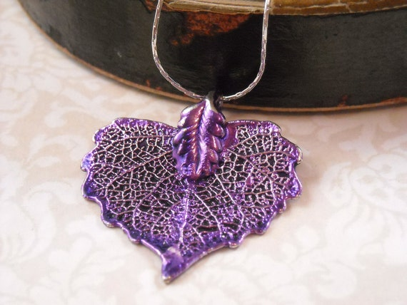 My Passion for Purple.    A real leaf necklace