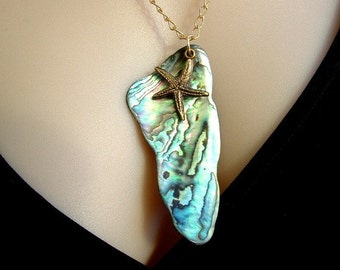 Natural Paua (New Zealand Ababone Shell Pendant with Starfish Charm