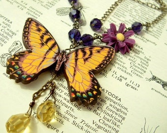 Yellow Vintage Style Butterfly Necklace with Crystals and Purple Daisy Flower
