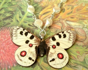 Vintage Style Butterfly Necklace with White Swarovski Pearls