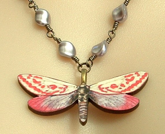 Vintage Style Butterfly Necklace with Mauve Swarovski Pearls