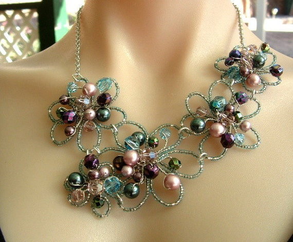 RESERVED FOR ASH Wired Flower Asymetrical Necklace with Pearls & Crystals