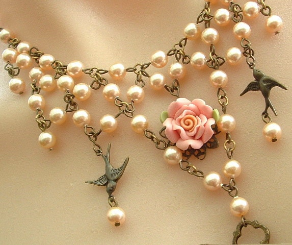 Peach Pearl Necklace: Swarovski Peach Pearl Necklace With Blush Pink Rose And