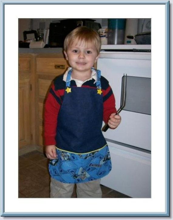 Boys Batman Apron With Pockets Size Boys Size Boys 6-8 With Adjustable Strap