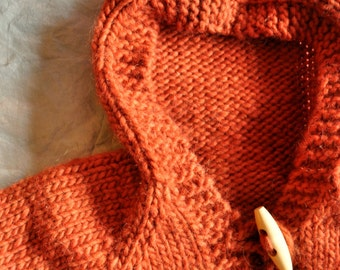 Knitting Pattern for Doll Cardigan with Hood - Hazel's Hoodie