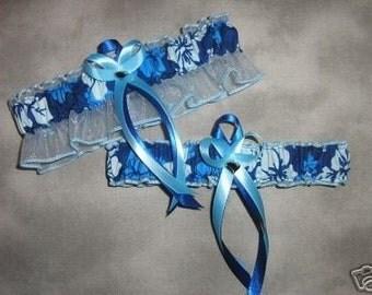 Handmade wedding garters keepsake and toss HAWAIIAN BEACH wedding garter set