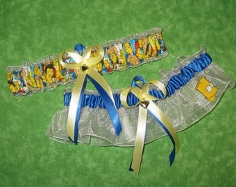 Handmade wedding garters keepsake and toss The Simpsons wedding garter set