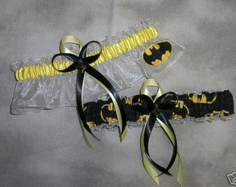 Handmade wedding garters keepsake and toss BATMAN wedding garter set