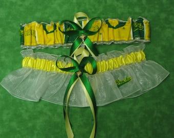 Handmade wedding garters keepsake and toss OREGON DUCKS wedding garter set