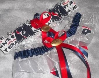 Handmade wedding garters keepsake and toss Houston TEXANS wedding garter set