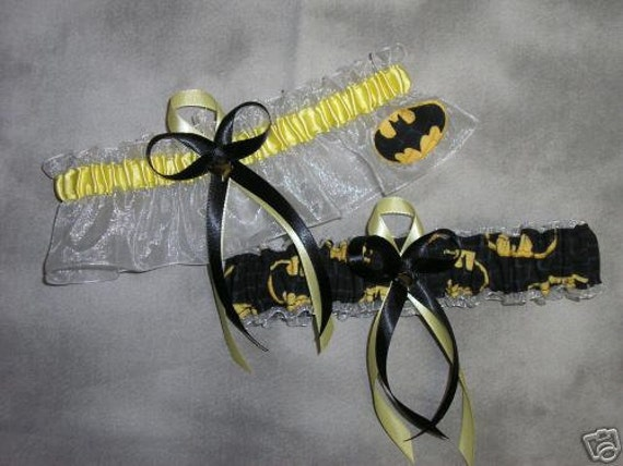 Handmade wedding garters keepsake and toss BATMAN wedding garter set