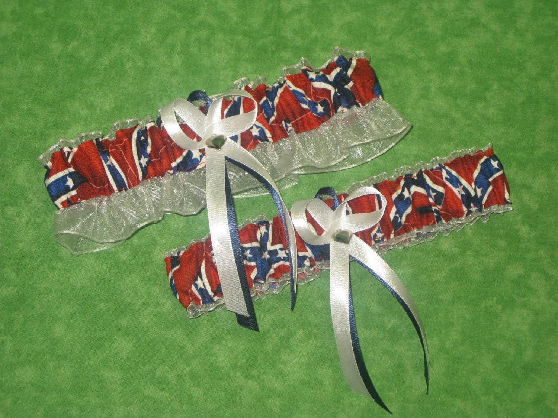 Confederate flag themed garter belts and we 39 re makin for Rebel flag wedding dresses