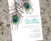 PEACOCK Invitation - PRINTABLE DESIGN - Wedding, Birthday or Any Occasion
