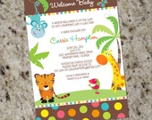COLORFUL SAFARI ANIMALS - Baby Shower Invitations - Gender Neutral - Pritable Design - BAB29