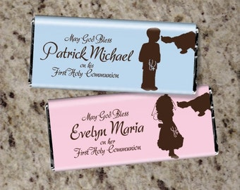 20 Personalized FIRST COMMUNION Candy Bar Wrappers - Boy or Girl - Cute Favors