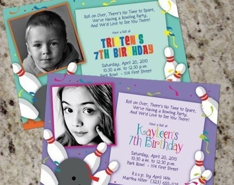 BOWLING Party Photo Invites - Boy or Girl - Print Your Own