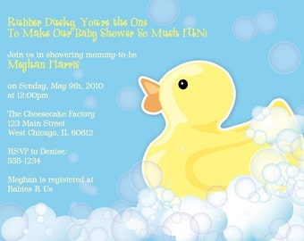 Rubber Duckie Baby Shower Invitation - Printable Design