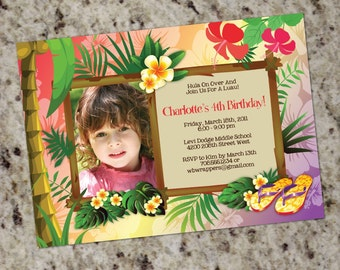 Hawaiian Luau Personalized Party Invitation - Print Your Own