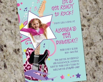 Rock Star Diva Party Invitations - Print Your own