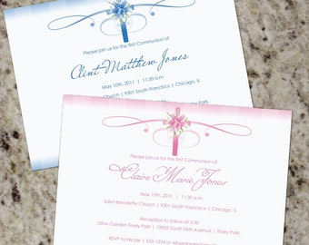 Calligraphic Cross - Elegant First Communion Invitations - Print Your Own