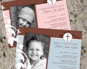 Cross and Swirls - Elegant First Communion Invitations with PHOTO- Print Your Own
