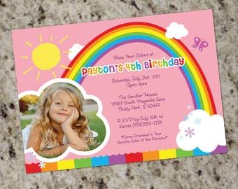 RAINBOW PARTY - Birthday Party Invitations - Printable Design