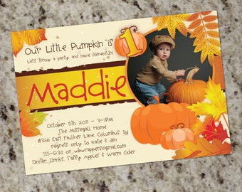 Fall Themed Party Invitations - Great for 1st Birthday & More - Print Your Own