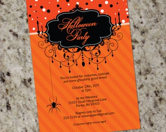 Elegant Candelabra Halloween Party Invitations - Print Your Own