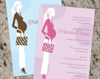 "Baby Shower Invitation - Pink or Blue - Printable Design - ""Trendy Mom"""