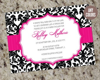 DAMASK Invitations - Baby Shower or any Occassion - Printable Design