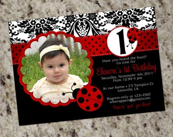 CHIC LADYBUG Invitation with Damask - Printable Design
