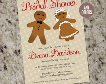 Holiday Bridal Shower Invitation or Save the Date - GINGERBREAD - Printable Design