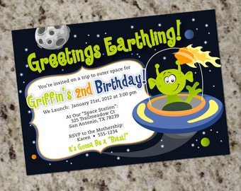 Space Alien Party Invitation - Outer Space Planets - Printable Design