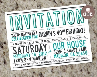 MOD TYPOGRAPHY Invitations - Clean, Simple, & Stylish - Print Your Own - Any Occasion